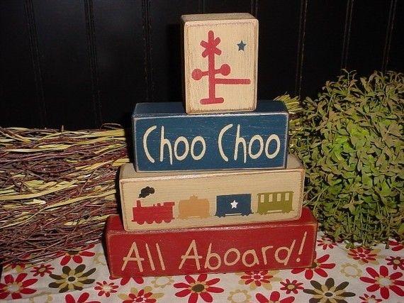 CHOO CHOO ALL ABOARD TRAINS Wood Sign Blocks PRIMITIVE COUNTRY BEDROOM BOYS TRAIN THEME BEDDING KIDS DECOR