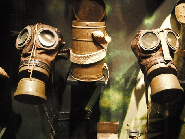 Early gas masks used in 2nd Ypres ww1, via Flickr.