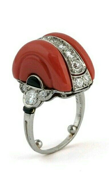 Art Deco MARCHAK. A coral, onyx and diamond ring
