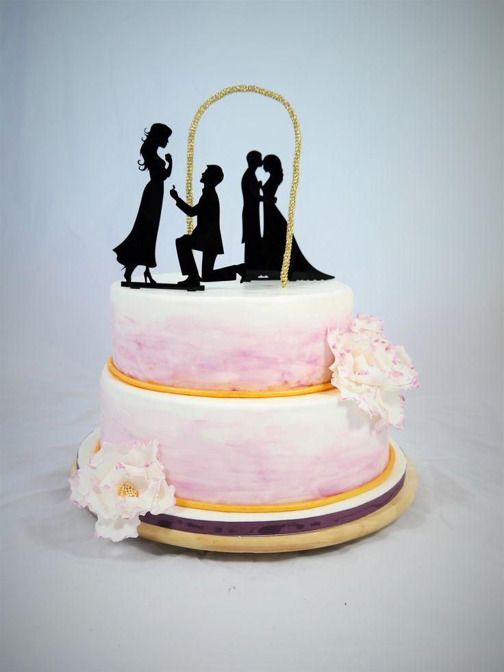 Hochzeitstorte Mann & Frau   große Blüte   Pfingstrose