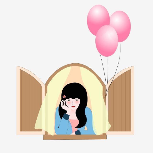 نافذة فتاة فتاة في سن المراهقة فتاة بالون بالون ستارة فتاة Png والمتجهات للتحميل مجانا Balloons Character Teenage Girl
