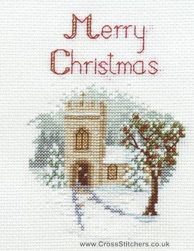 The Church Christmas Greetings Card Cross Stitch Kit from Derwentwater Designs
