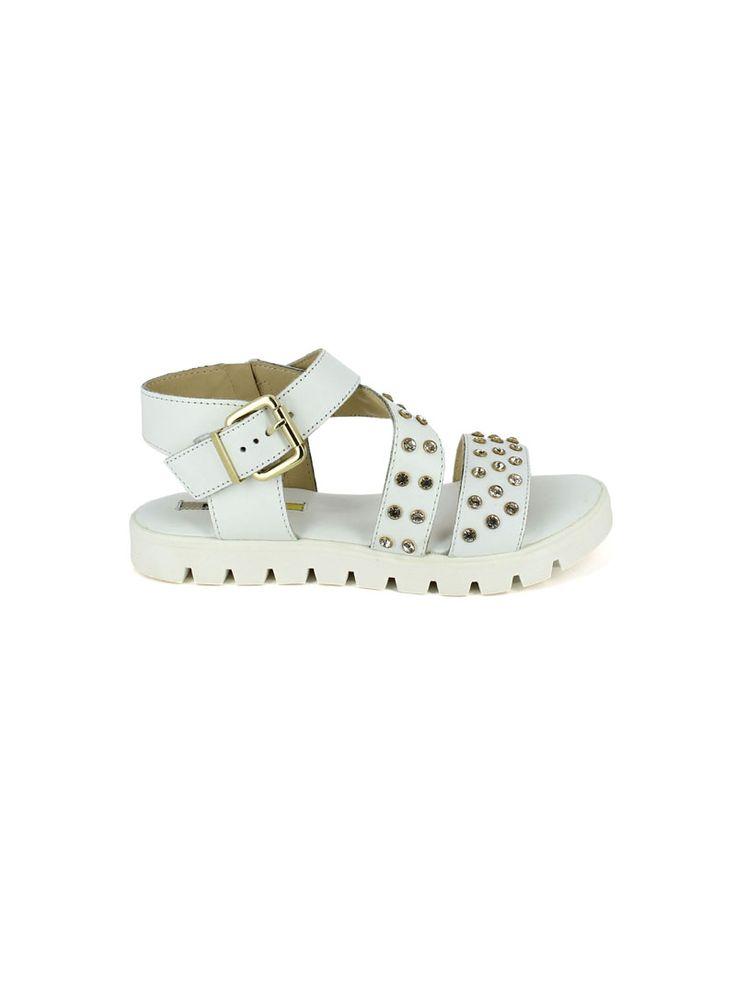 SANDALI PATRIZIA   vendita online SANDALI Manas sandalo in pelle con cinturino e fibbia laterale, accessori decorativi in metallo, fondo in gomma, tacco 20 mm  #Manas #Sandals #Summer #Flat #Urban #Casual