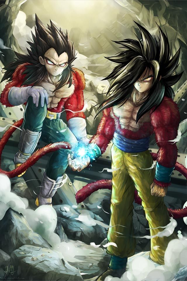 Dragonball GT Vegeta SS4 and Goku SS4