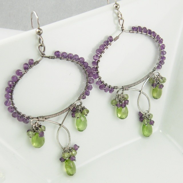 One Of A Kind Amethyst Peridot Silver Earrings - Isis Earrings: Silver Earrings, Amethysts Peridot, Kind Amethysts, Peridot Silver, Neat Stuff, Bijuterii Dinning, Dinning Sarma, Isis Earrings