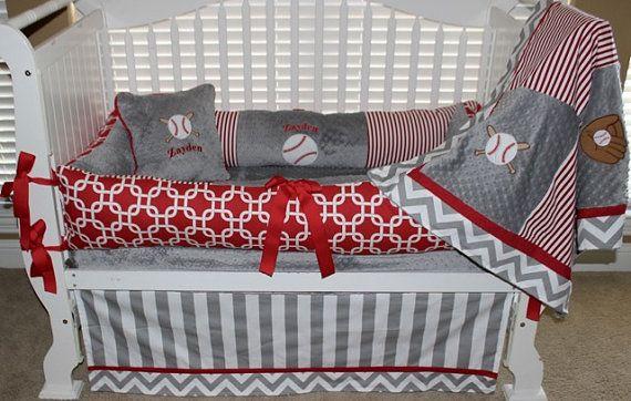 Gray and Red baseball baby bedding