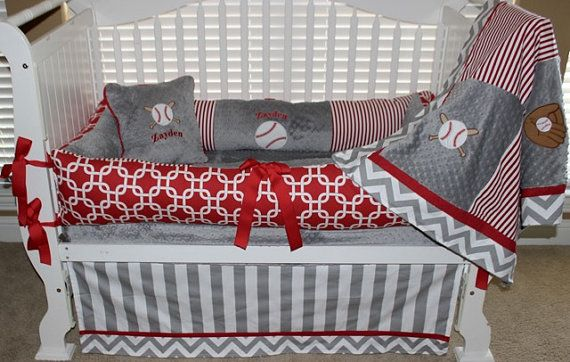 Gray and Red baseball baby bedding