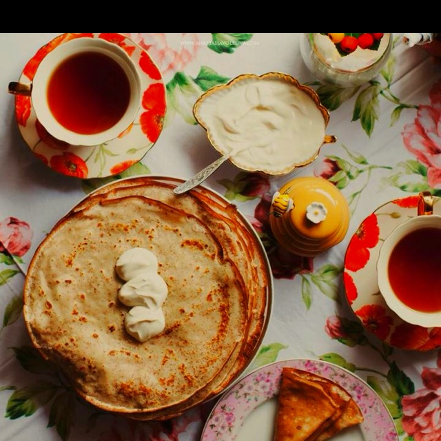 Tea with blini, Russian style...Yum!! Photo by Anastasia Volkova.