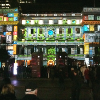 At the Vivid light show exhibition at Circular Quay Sydney. Lights projected onto building with sound effects too