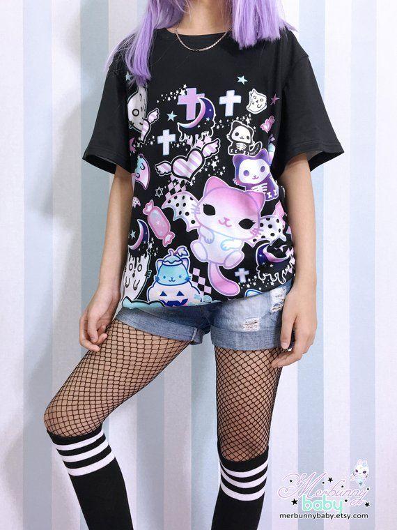 5eea3c07576ef4 Magic cats - Unisex T-shirt - Kawaii pastel goth, creepy cute, melty ...