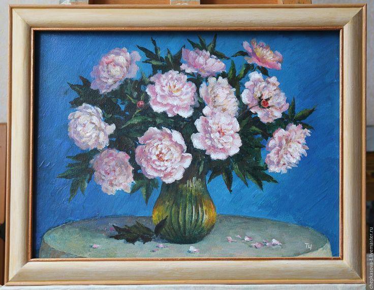 Купить Пионы. Темпера - тёмно-бирюзовый, пионы, букет пионов, пионы в вазе, цветы в вазе