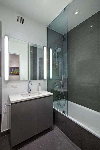 Modern Bathroom Design Ideas with Grey Granite Wall and Storage under White Sink