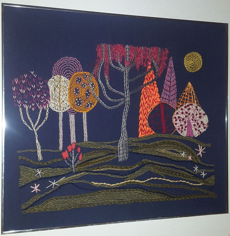 SURREAL FOREST CREWEL NEEDLEPOINT CANVAS MID-CENTURY ART VINTAGE WALL TAPESTRY