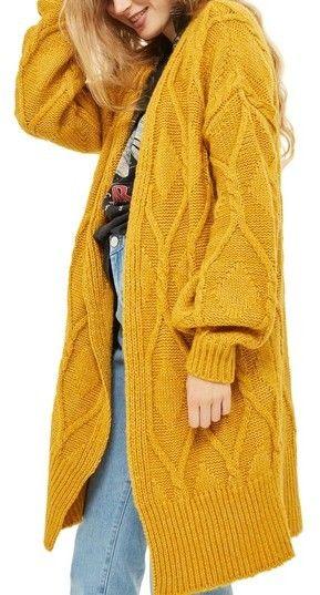 Topshop Longline Cable Cardigan   mustard sweater   mustard cardigan   yellow cargidan