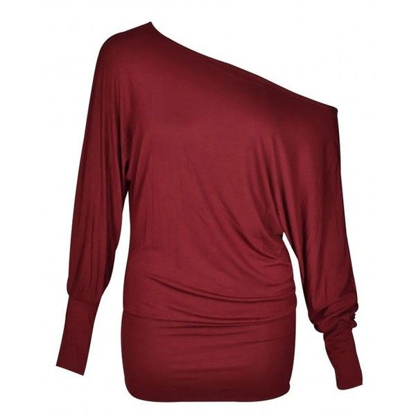 Wine Off Shoulder Long Sleeve Batwing Top (€5,65) ❤ liked on Polyvore featuring tops, off the shoulder batwing top, off the shoulder tops, batwing tops, red off shoulder top and red off the shoulder top