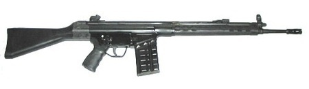 CETME battle rifle. Later manufactured in Germany and designated as the G3. 7.62 NATO