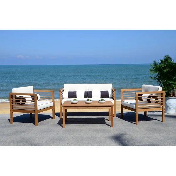 Safavieh Outdoor Living Alda Black/ White 4 Pc Set With ... on Safavieh Alda 4Pc Outdoor Set id=57254