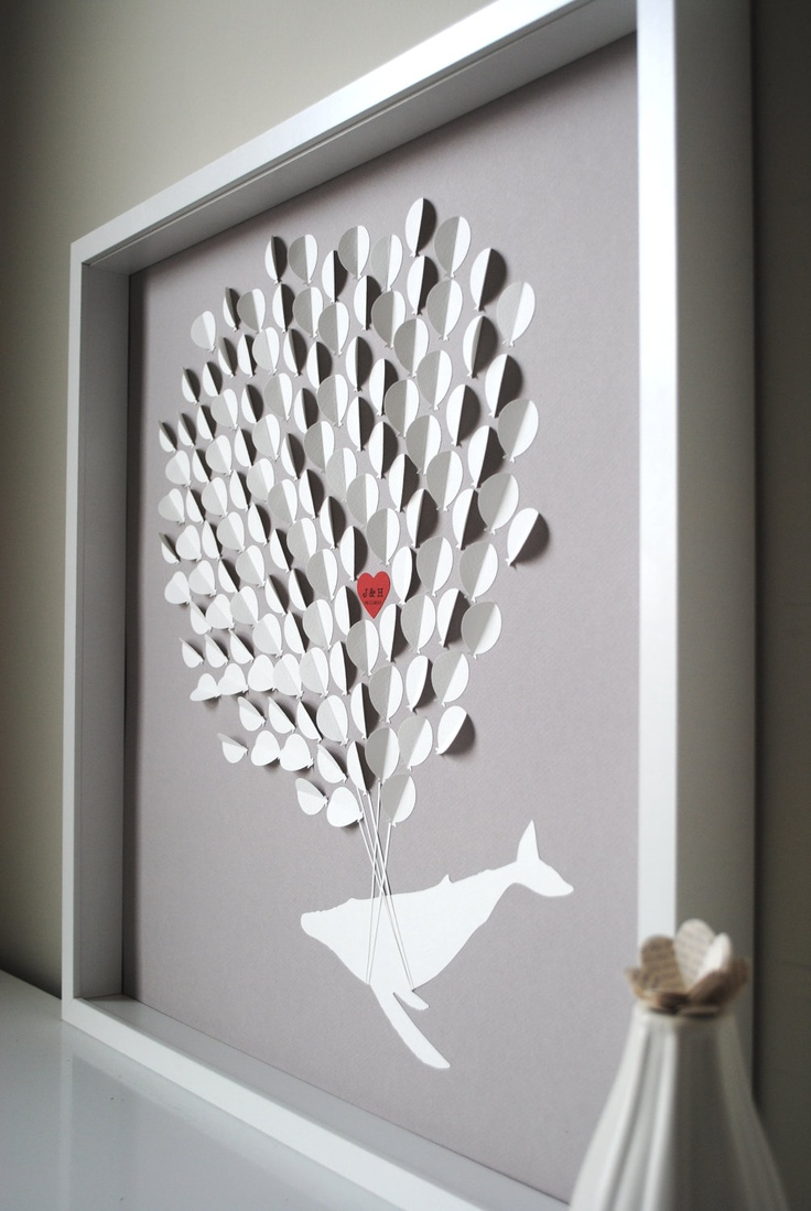 Wedding Guest Book Alternative- 3D Balloons whale silhouette - MEDIUM (includes frame, instruction card and two pens). $190.00, via Etsy.