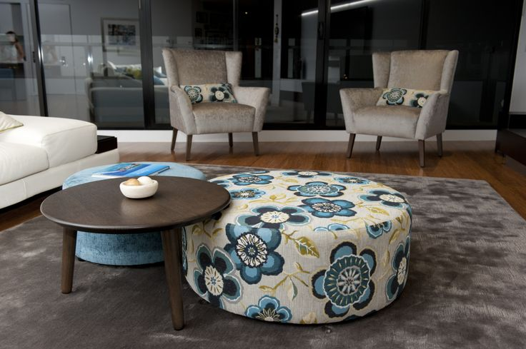 Ottomans with Side Table