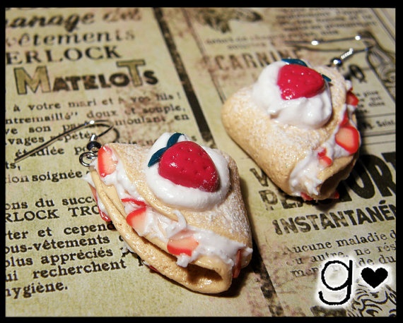White chocolate & strawberry Crepe Earrings by GabriellesCreations, $18.00