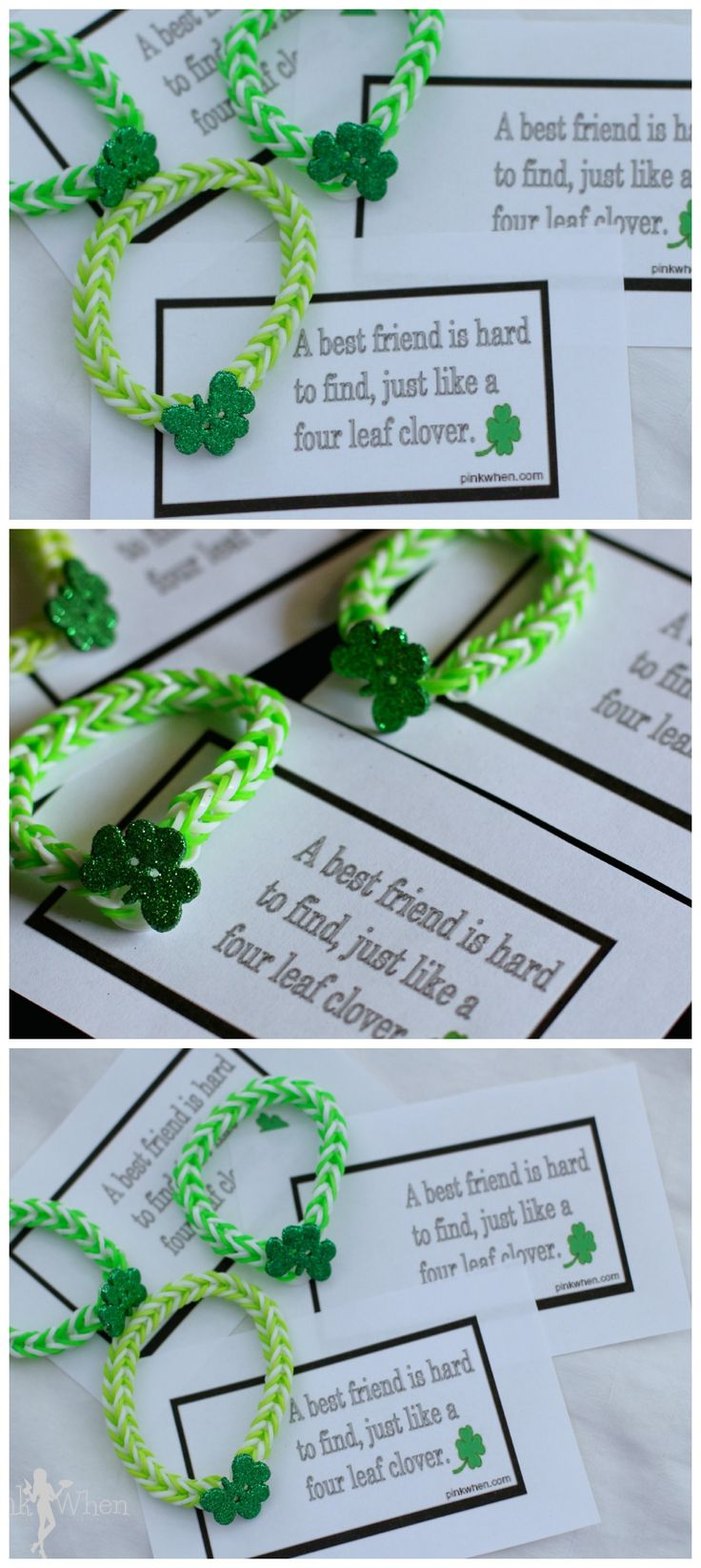 Your child's friends will feel lucky to receive a fun St. Patrick's Day #rainbowloom bracelet! @jen West from PinkWhen has a free printable that makes this #craft a cinch.