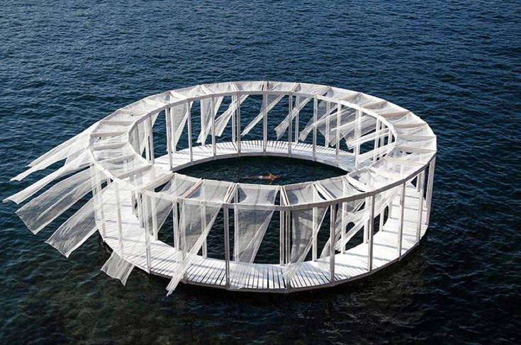 Floating Pavillon to Rest in the Middle of the Sea  Architects Elena Chiavi Ahmad El Mad and Matteo Goldoni imagined with students from different countries a structure called Antiroom II. It is a circular construction with a path and net curtains floating on water and only accessible by swimming or by boat. It enable to rest in the middle of the sea and enjoy the tranquillity it offers.           #xemtvhay