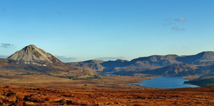 The view coming from Gaoth Dobhair towards Dunlewy. Pictured is Errigal and the poison glen.