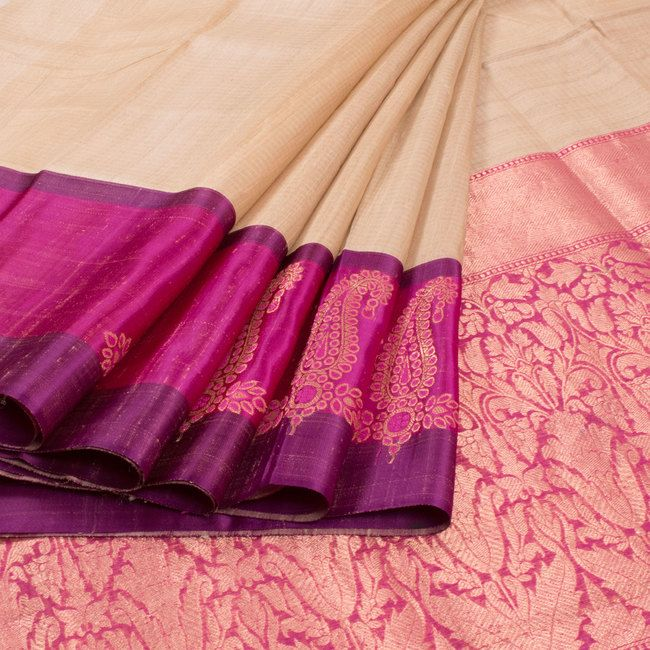 Shivangi Kasliwaal Beige Handwoven Banarasi Tussar Silk Saree 10008228 - profile - AVISHYA.COM
