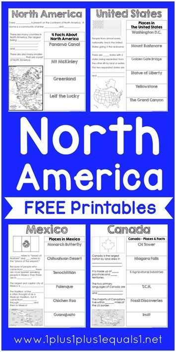 North America Printables {free} ~ Mexico, Canada, U.S.A. ~ goes along with the book Children's Atlas of God's World