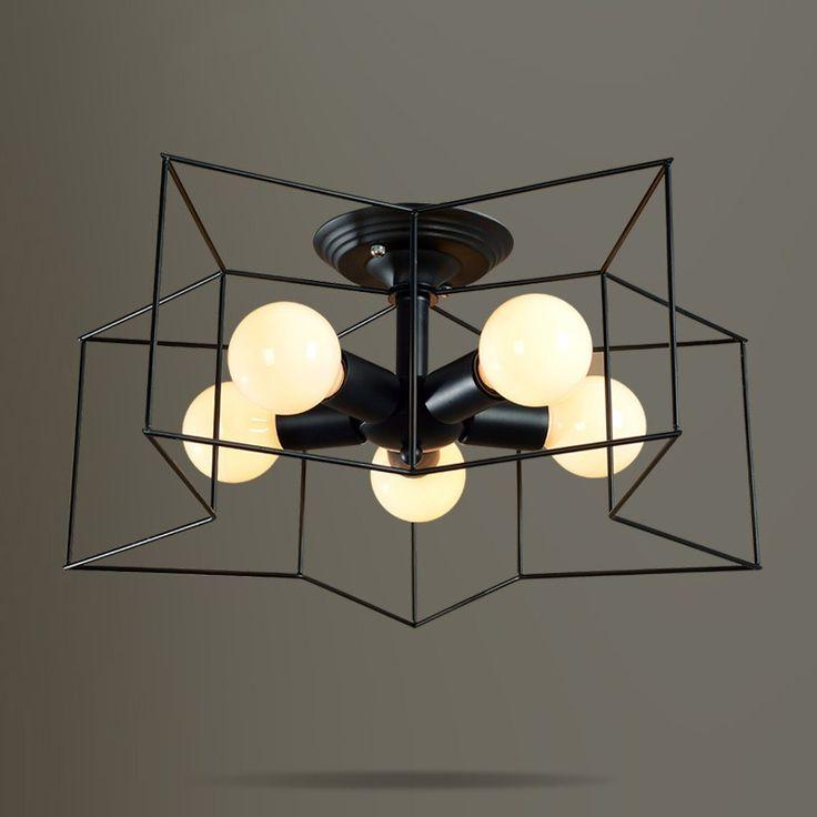 modern style lighting. Modern Style Metal StarShaped Cage 5Light Black Semi Flush Mount Ceiling Light Lighting