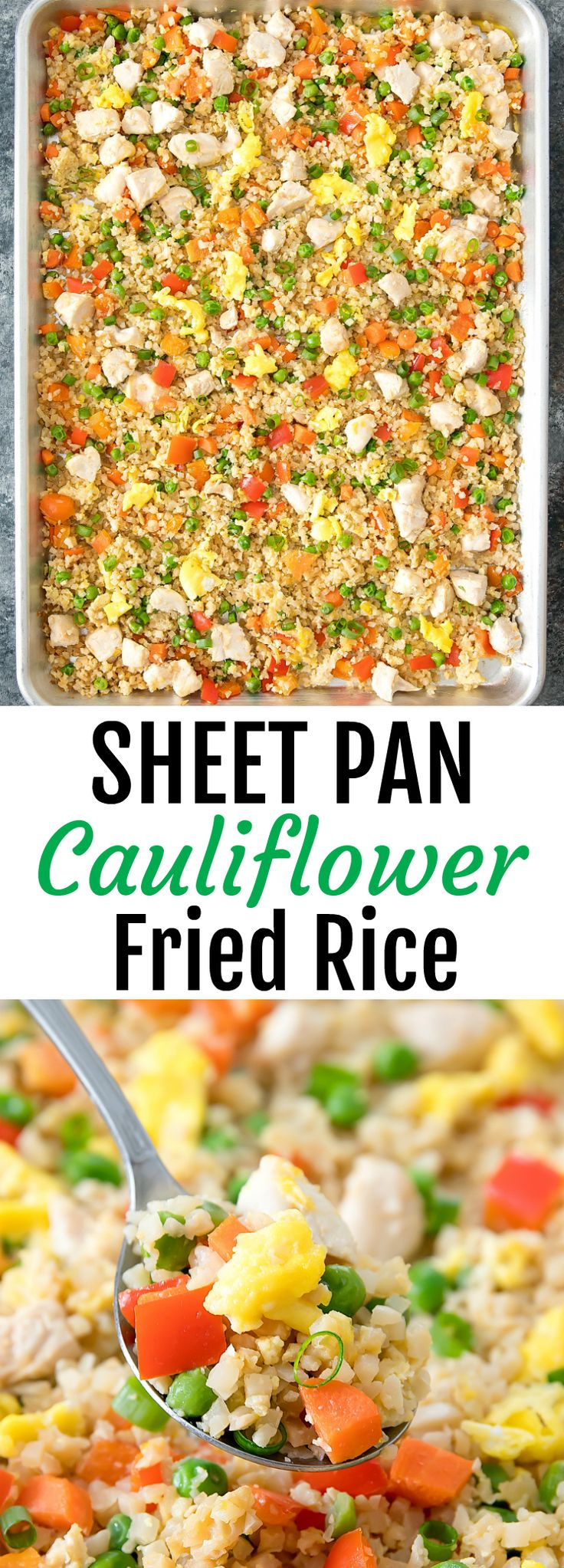 Sheet Pan Cauliflower Fried Rice. A healthier version of fried rice made baked on one sheet pan for an easy meal that is also good for weekly meal-prep.