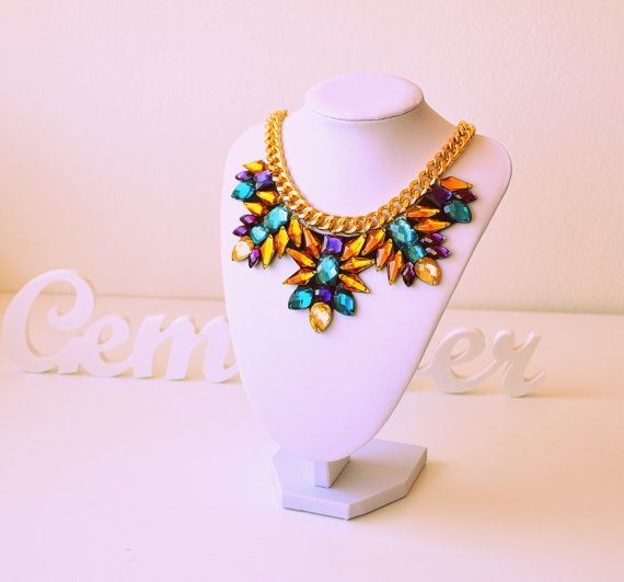 Gold Rhinestone Gem Crystal Statement Necklace by GemsOver on Etsy