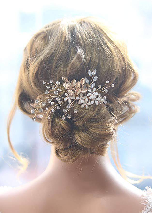 gracewedding novia oro hoja de cristal cabello peine boda pelo peines accesorios  para el pelo mujeres 2f22bdb40caa