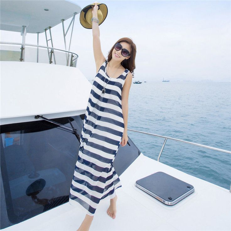 Fashion Women Blue Summer Striped Chiffon Sundress Long Dress Beach Skirt Hot