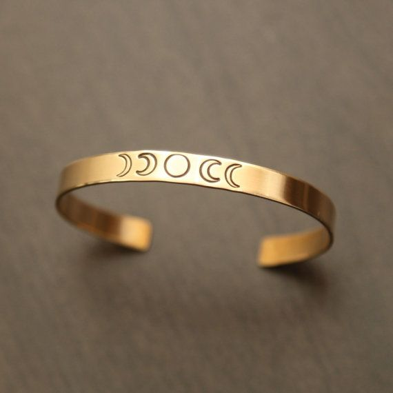 Moon Phases Brass Cuff.    I hand stamped this design on a brass cuff that has a smooth finish.    A jewellers brass cuff bracelet that is 6 long by
