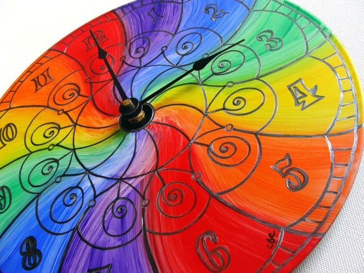 Color Wheel Mandala Record Clock