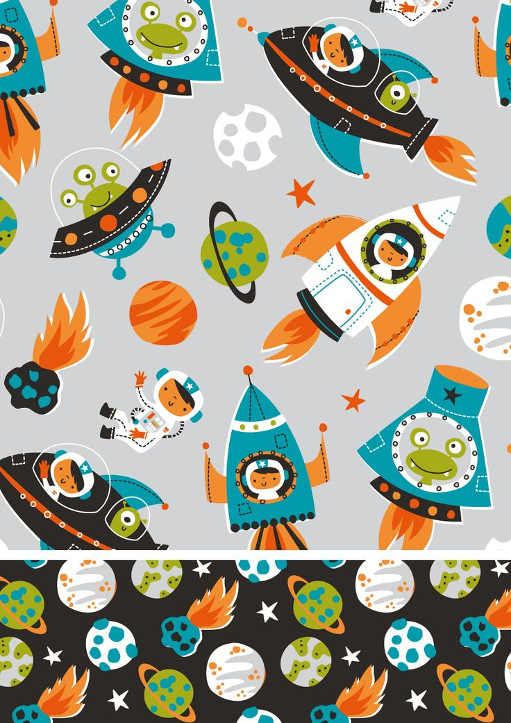 1000 images about illustration cuteness on pinterest for Kids space fabric