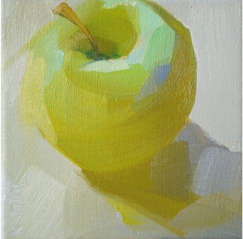 yellow, green, bright, light, pastel, fruit, contemporary by Karen Oneil