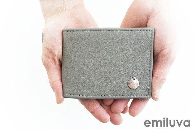 """Geldbörsen - Herrenbrieftasche Leder """"Silbergrau"""" - ein Designerstück von emiluva bei DaWanda"""