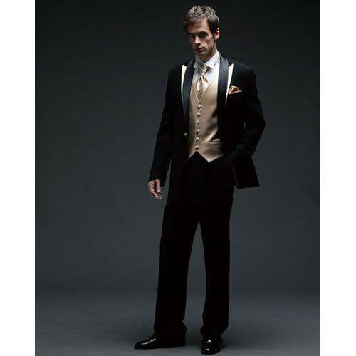 Custom Black Gold Italian Fashion Men Wedding Prom Dress Suits Tuxedos SKU-123135