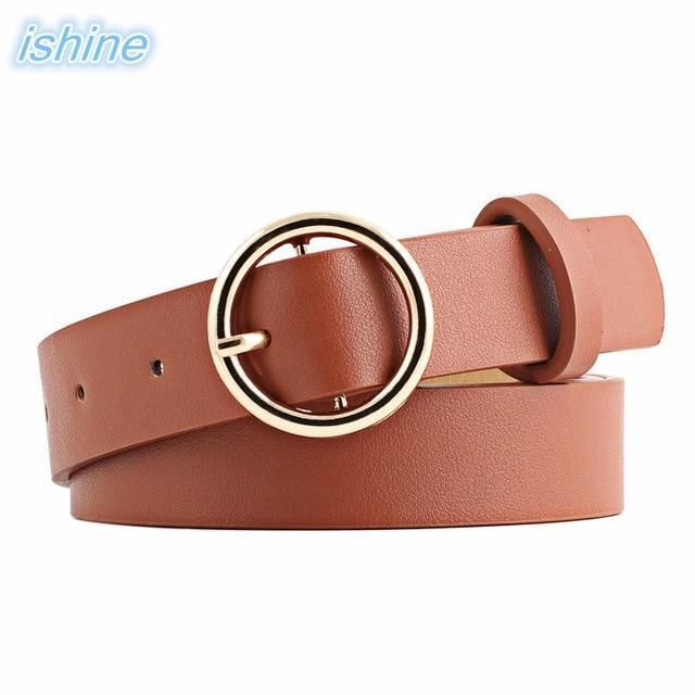 105cm Newest Gold Round Buckle Belts Female Hot Leisure