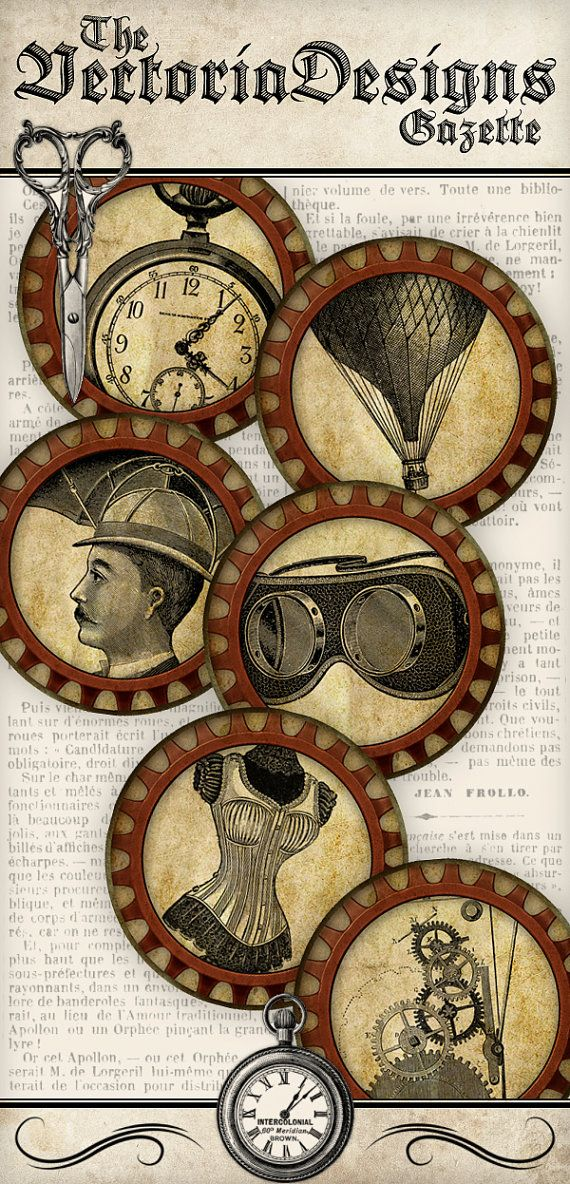 12 Steampunk Circles 2 inch instant download by VectoriaDesigns