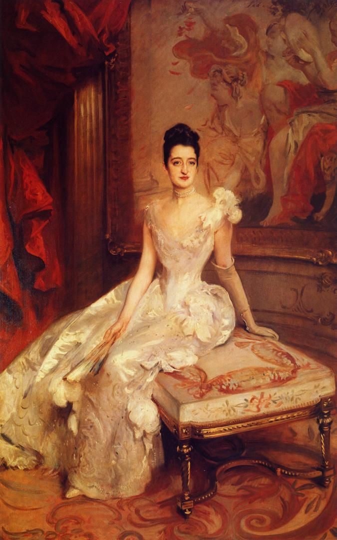 Florence Adele Vanderbilt (Mrs. Hamilton McKown Twombly) by artist John Singer Sargent (1890). Sargent also painted portraits of her mother, sister Margaret Louisa Vanderbilt and others in the extended Vanderbilt Family including the official portrait of the 9th Duke of Marlborough, Consuelo (Vanderbilt), Duchess of Marlborough and their two young sons. She was Consuelo's Aunt.