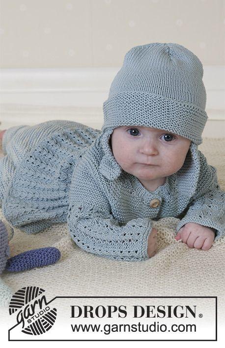 Seaport Baby / DROPS Baby 13-2 - DROPS Jakke, bukser, hue og blæksprutte i Safran og tæppe.