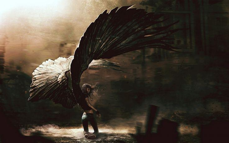 1680x1050 Wallpaper angel, girl, fallen, wings