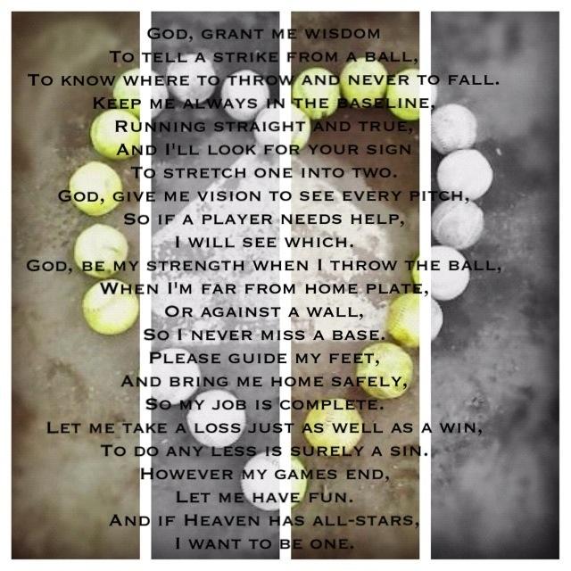 Softball player's prayer. Love this!