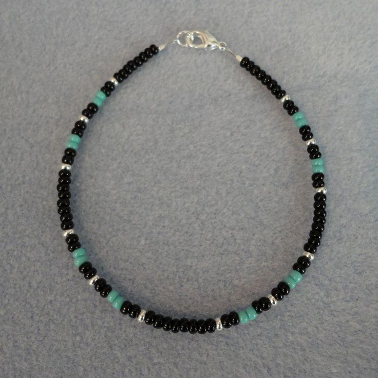 Mens Native American Beads: Details About Turquoise Black Silver Beaded Bracelet