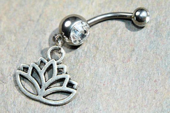 Lotus Belly Ring Choose Color CZ Double Gem Body Jewelry 14g 14 gauge 316L Stainless Surgical Steel Dangle Charm Navel Piercing Silver by BodyJewelryEnvy