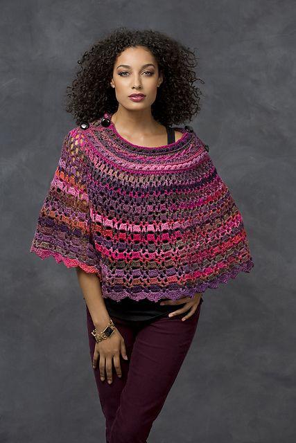 Ravelry: Dubonnet Poncho pattern by Bonnie Barker--link to free pattern