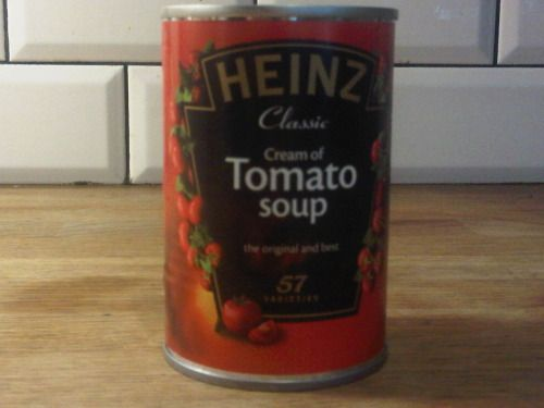 Homemade HEINZ CREAM OF TOMATO SOUP: You take tinned tomatoes, an onion, a carrot, a stick of celery, a little ketchup, some cornflour, sugar and cayenne. You simmer it with cream and milk for a bare 15 minutes.